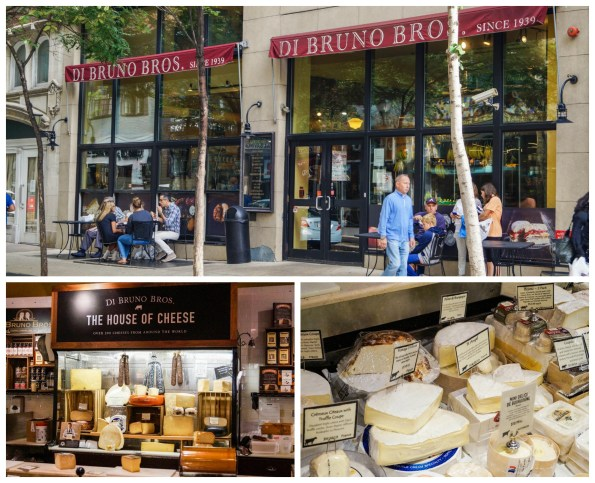 Entrance and interior of Di Bruno Bros. with cheese on display.