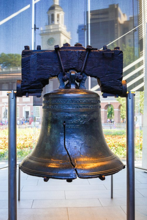 Close up of the Liberty Bell.