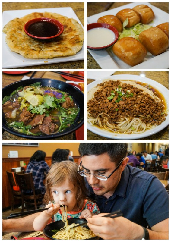 Scallion pancakes, fried bread, and noodles at Nan Zhou Hand Drawn Noodle House.