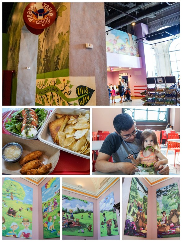 Please Taste Cafe at the lease Touch Museum with storybook murals on the wall.