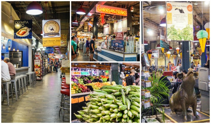 Stalls inside the Reading Terminal Market with people eating on barstools.
