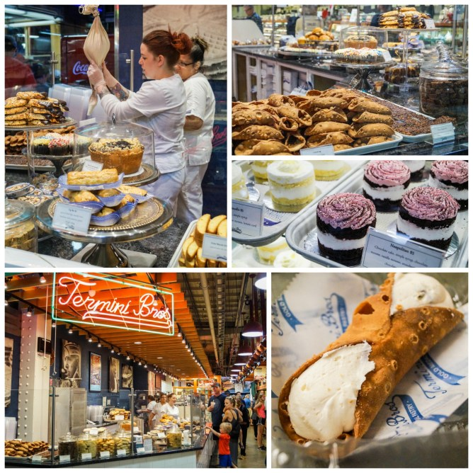 Cannolis and pastries at Termini Bros Bakery in Reading Terminal Market