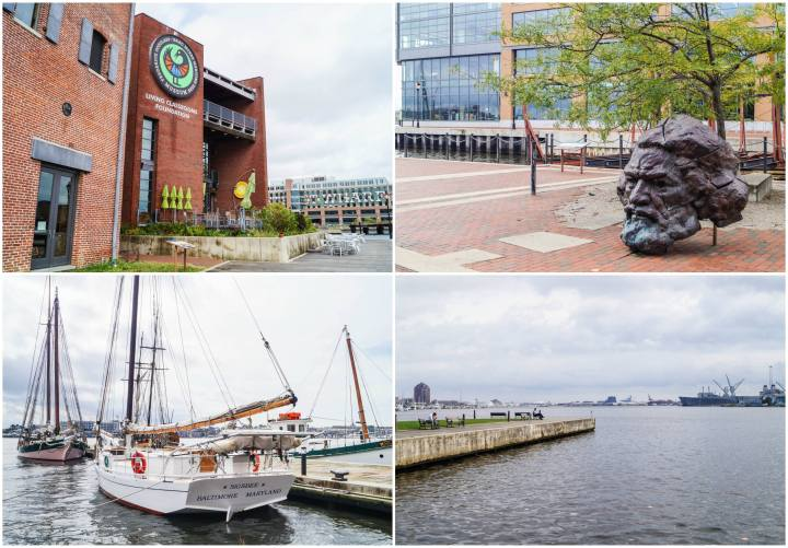 Waterfront and statue of Frederick Douglass in Fells Point- Baltimore, Maryland.