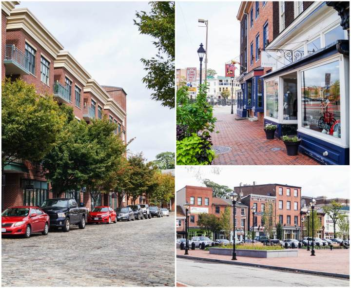 Street and storefronts in Fells Point- Baltimore, Maryland.