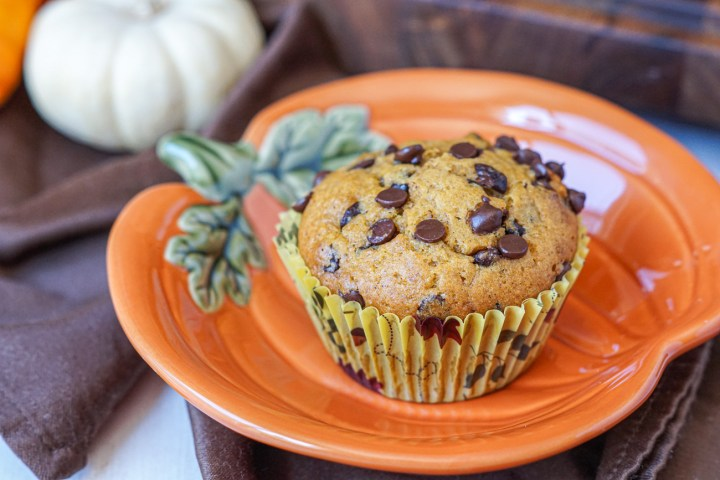 A Pumpkin Chocolate Chip Muffin on a pumpkin plate with a white pumpkin in the background.