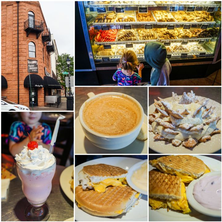 Collage of Vaccaro's Italian Pastry Shop- outside building, pastry case, milkshake, latte, cannoli dip, and sandwiches.