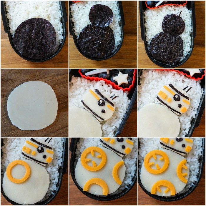 Forming cheese and nori strips into a BB-8 for Star Wars Bento.