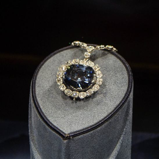 Hope Diamond on a pedestal