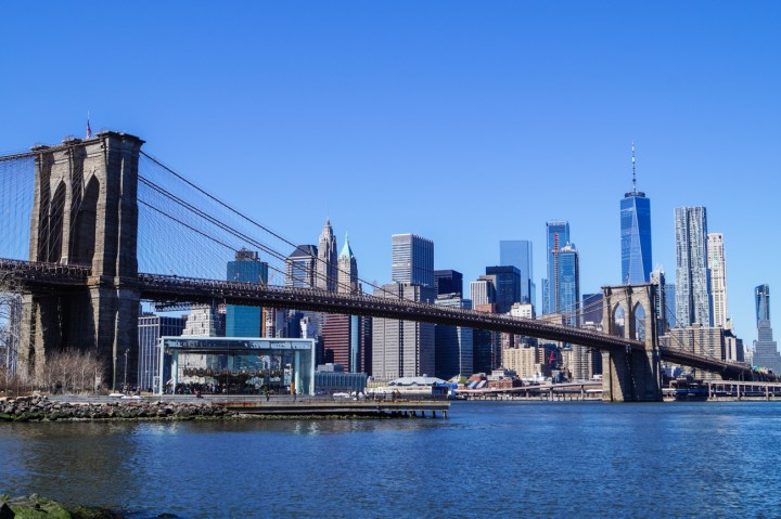 View of Brooklyn Bridge and NYC Skyline.