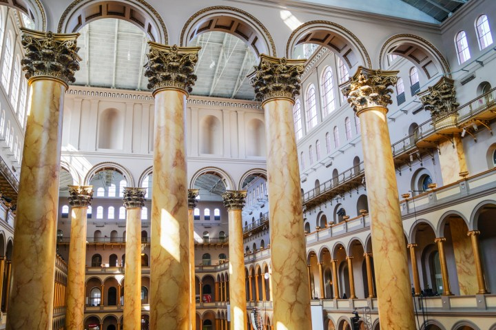 Tall marble columns inside the National Building Museum.