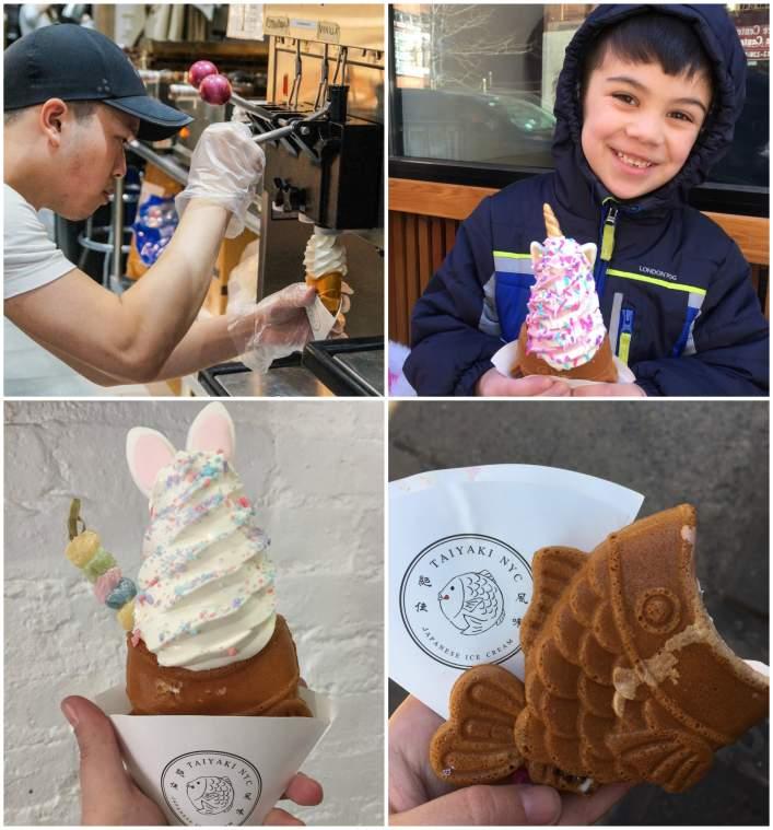 Serving soft serve ice cream at Taiyaki NYC.
