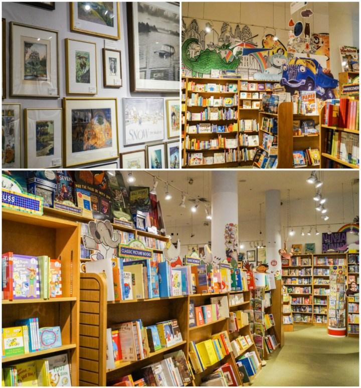 Framed illustrations on the wall and book shelves inside Books of Wonder.