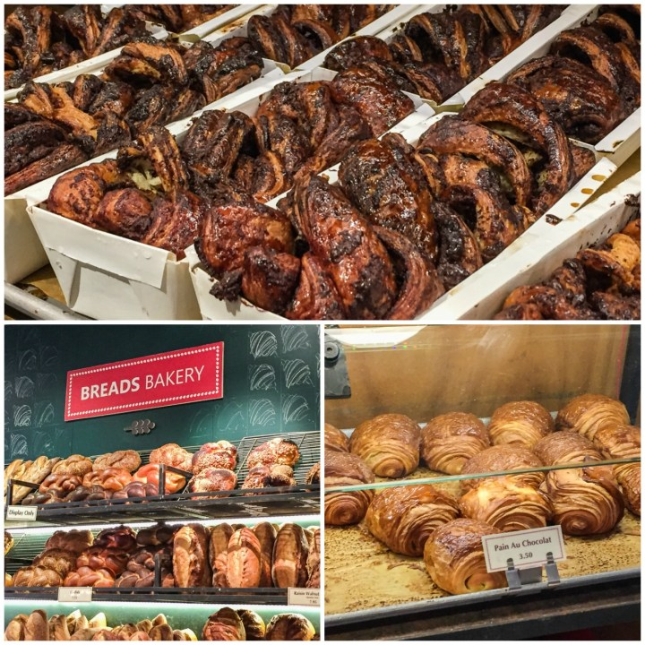 Rows of Chocolate Babka and other pastries inside Breads Bakery.