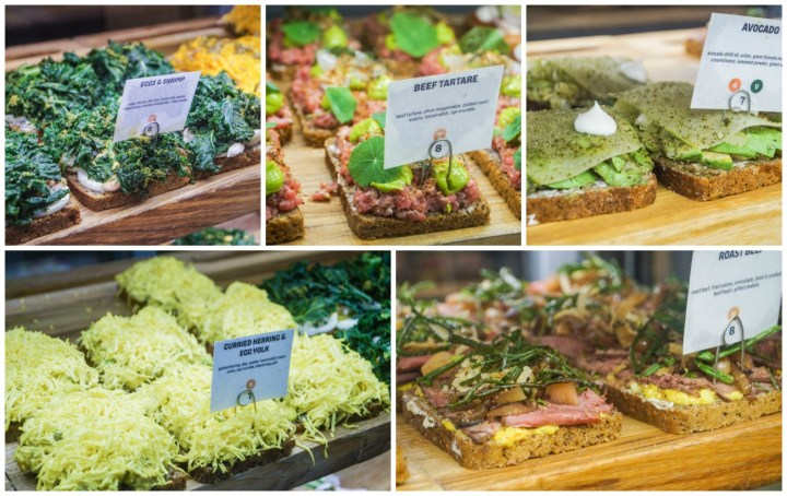 A collection of Smørrebrød on display inside the Great Northern Food Hall.