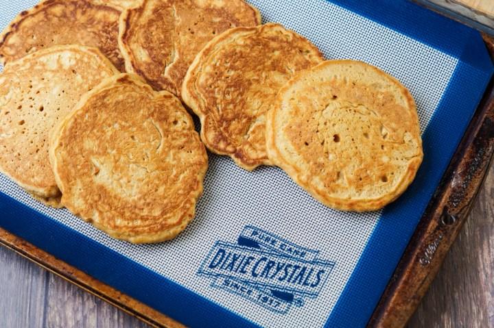 Pancakes on a baking sheet