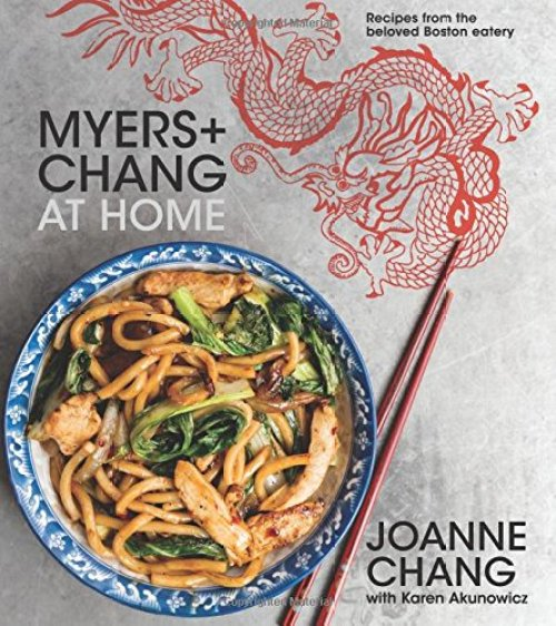 Myers + Chang At Home: Recipes from the Beloved Boston Eatery cookbook cover with noodles in a bowl next to chopsticks and drawing of red dragon.