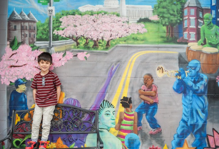 Standing in front of mural in Barracks Row: street with cherry blossom trees, capitol building, Washington Monument, man playing trumpet and another man playing drums.