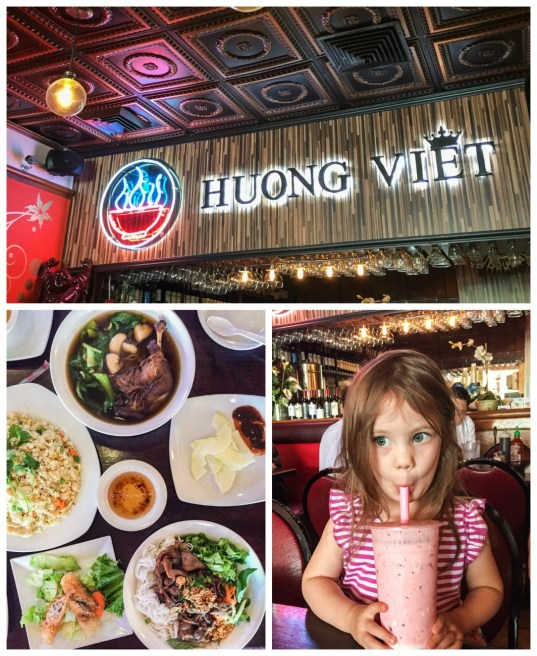 Inside Huong Viet with aerial view of food in white plates and drinking a smoothie.