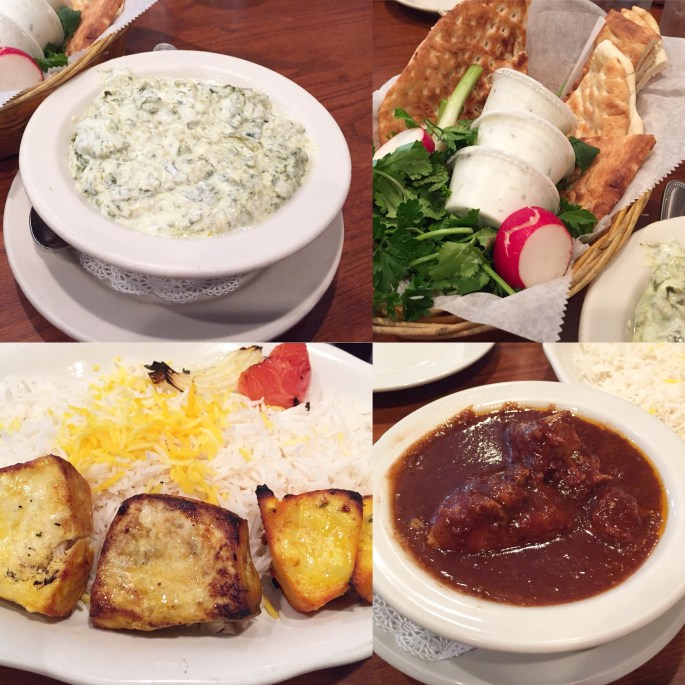 Collage of food- spinach dip, bread, meat and rice at Kabob Bazaar.