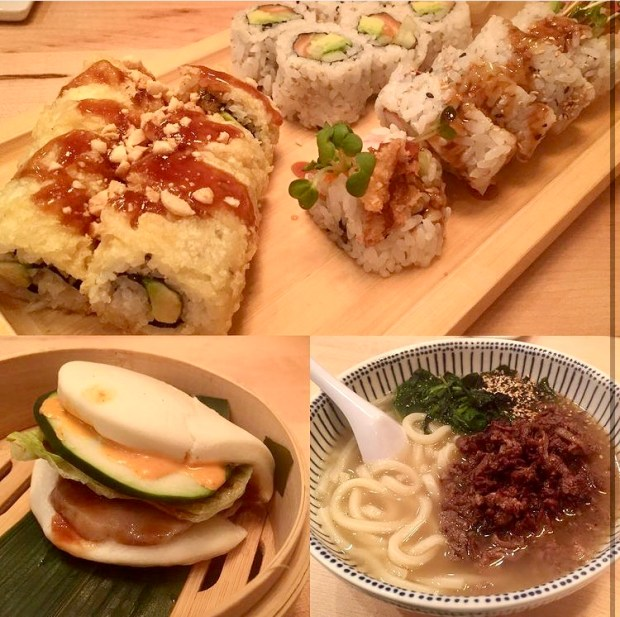 Sushi, Pork Buns, and Beef Noodle Soup from Sushi Jin Next Door.