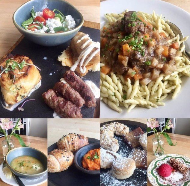 Collage of food- salad, noodles, soup, bread, and desserts at Ambar Clarendon.