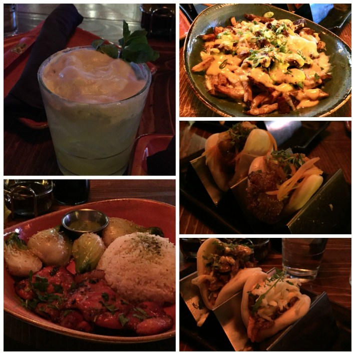 Collage of food- drinks, fries, and bao from Bar Bao.