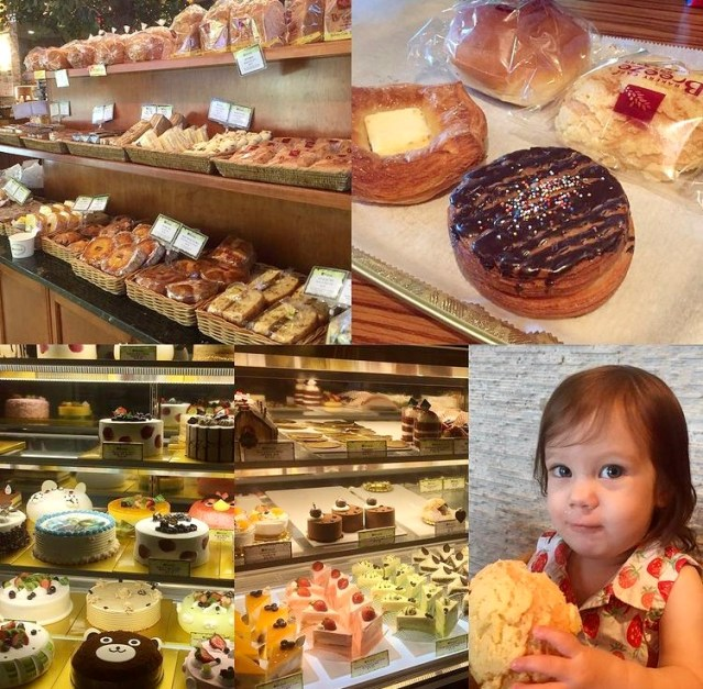 Collage of pastries, cakes, doughnuts, and bread at Breeze Bakery.