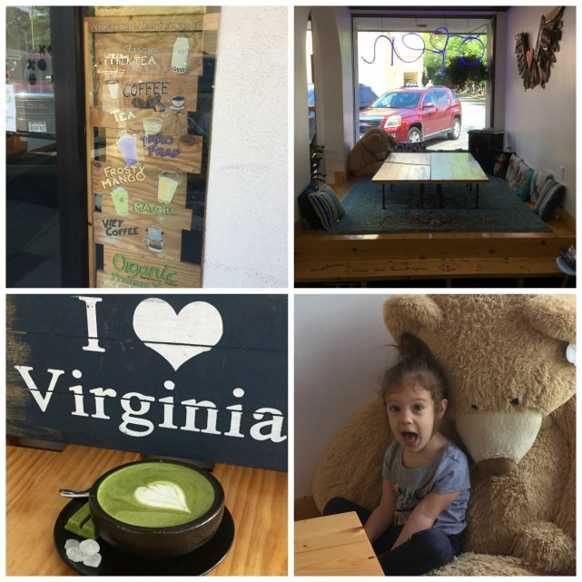 """Inside Chill Zone and a cup of Matcha Latte in front of an """"I Love Virginia"""" sign."""