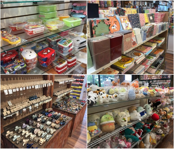 Collage of stationery, lunch boxes, hair accessories, and stuffed animals at Lil Thingamajigs Gift Shop.