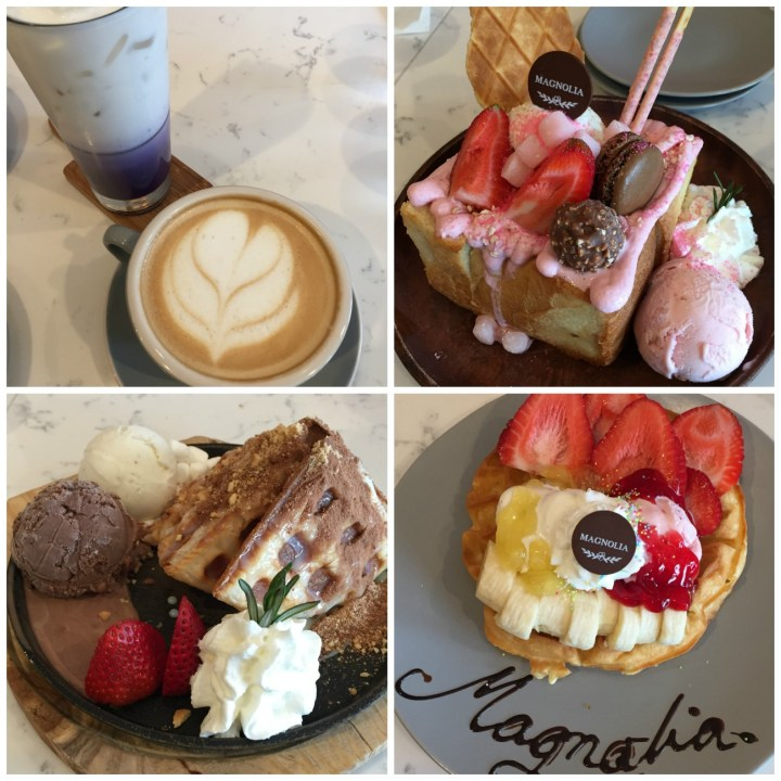 Collage of food- coffee, toast, and waffles from Magnolia Dessert Bar & Coffee.