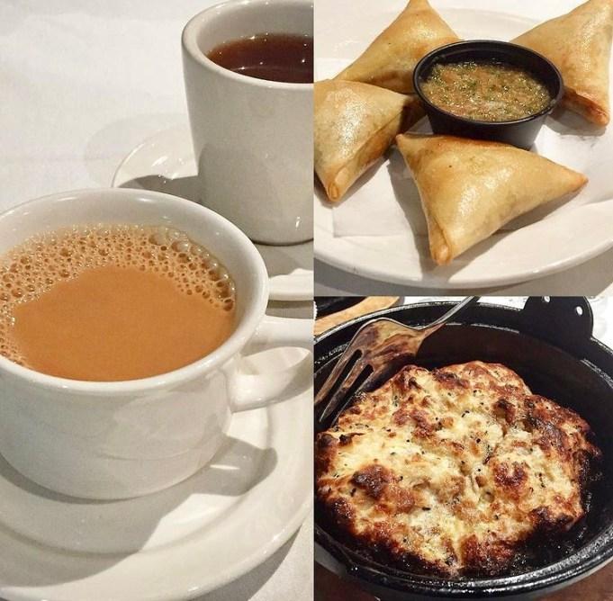 Collage of food from Marib Yemeni Restaurant- tea, sambousa, and simmered bread.
