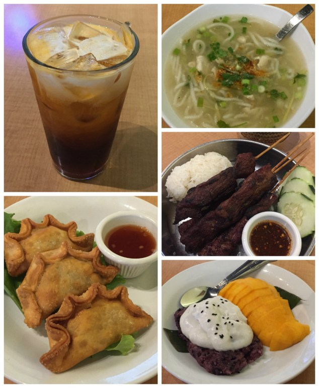 Collage of food- tea, noodle soup, dumplings, meat, and mango at Padaek.