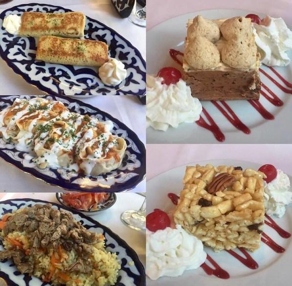 Collage of food- dumplings, rice, and cake at RusUz.