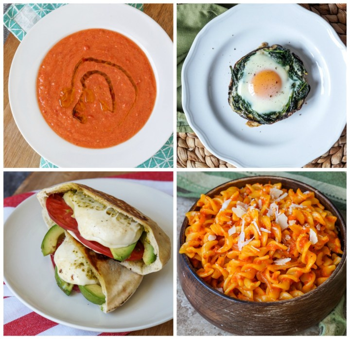 Other dishes from Simply Vegetarian Cookbook: Gazpacho, Portabella Eggs Florentine, Caprese Avocado Grilled Pitas, and Roasted Red Pepper Pasta.