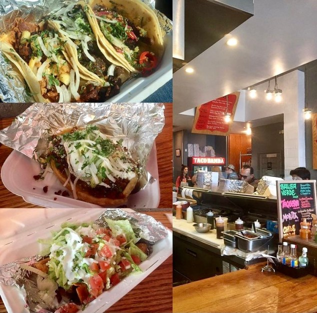 Tacos and inside view of kitchen at Taco Bamba.