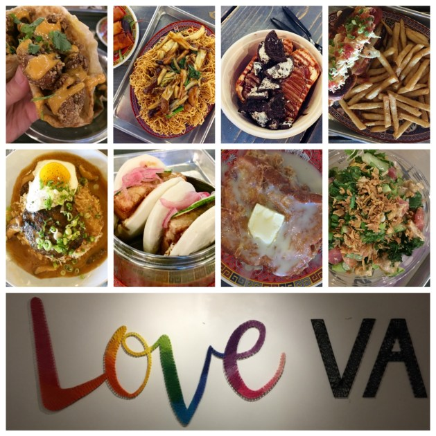 """Collage of a variety of food from The Block with a sign stating """"Love VA."""""""