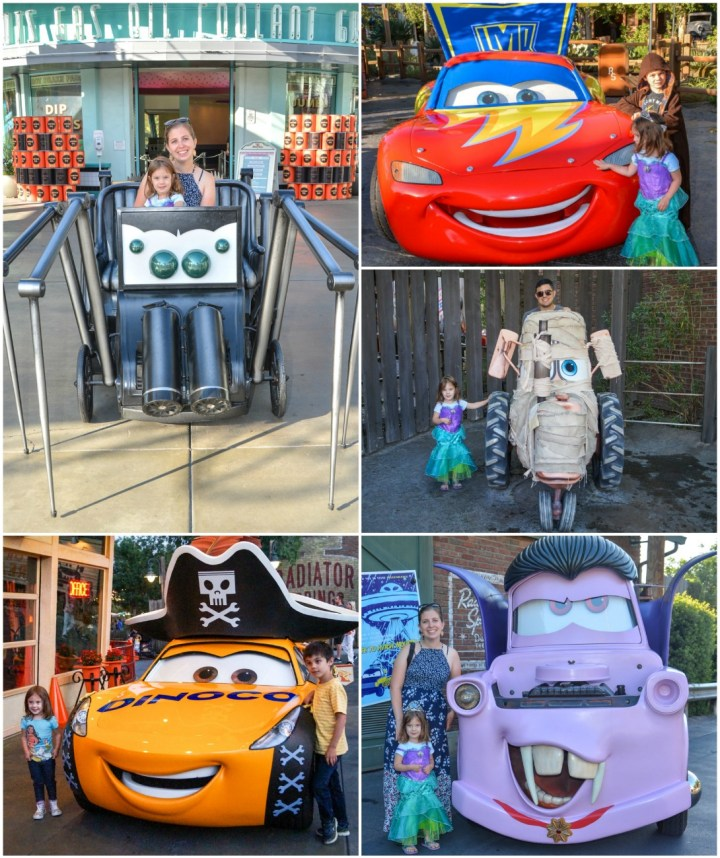 Cars characters dressed up for Halloween- dinoco yellow car with pirate hat, purple vampire Mater, mummy tractor, and Lightning McQueen with a lightning bolt