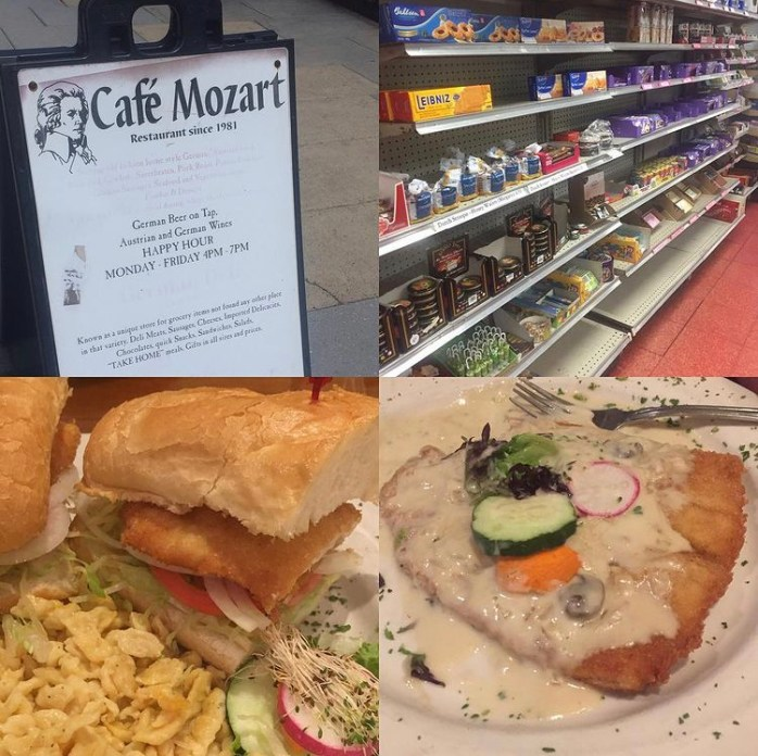 Schnitzel, Sandwich, and groceries at Café Mozart.
