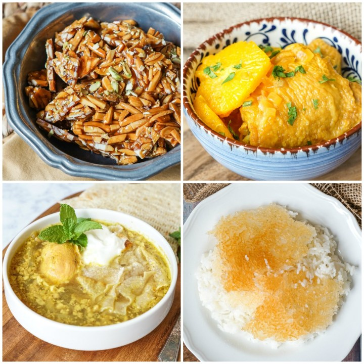 Other dishes from From the Land of Nightingales & Roses- Sōhān Asalī (Caramelized Almond Praline), Khoresht-e Porteghāl (Chicken in Orange and Saffron Sauce), Eshkaneh-ye Piyāz (Egg and Onion Soup with Walnuts), and Kateh (Steamed Rice).
