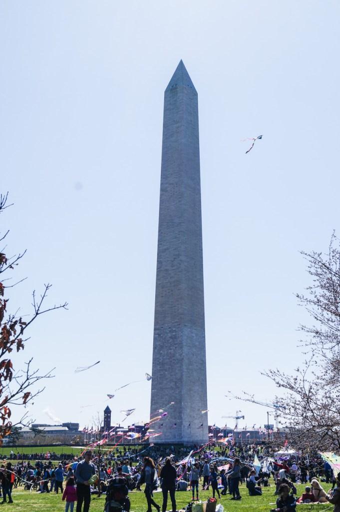 Washington Monument surrounded by kites.
