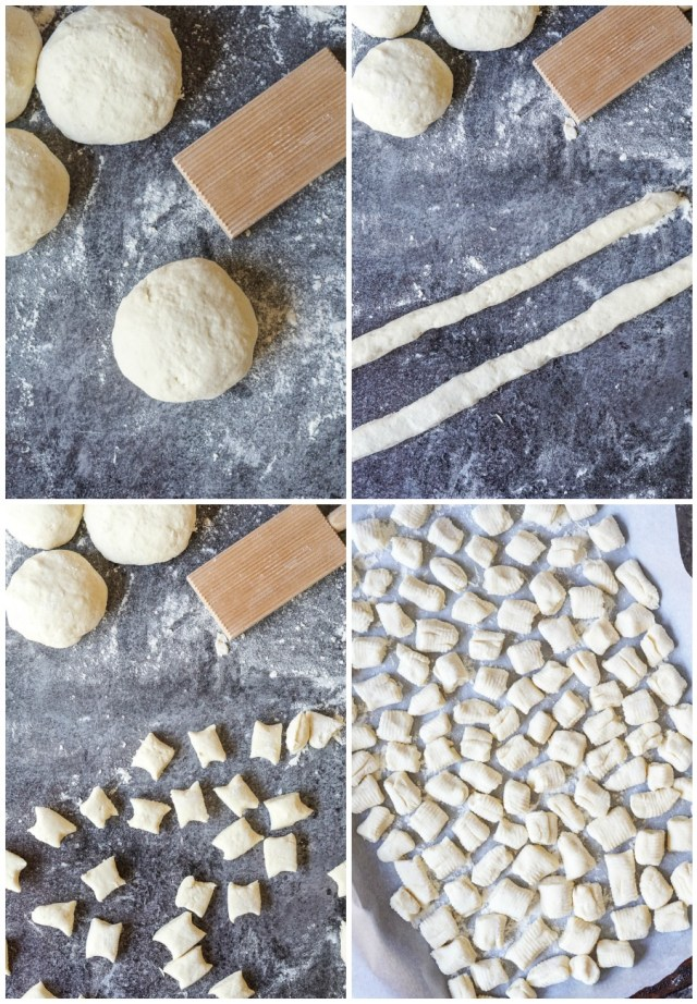 Forming the Burrata Gnocchi- rolling the dough into a ball and then into a rope, cutting out the pieces and arranging on a parchment lined baking sheet.