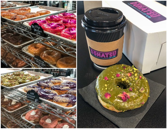 Doughnuts on display and a pistachio rose doughnut at Donatsu.