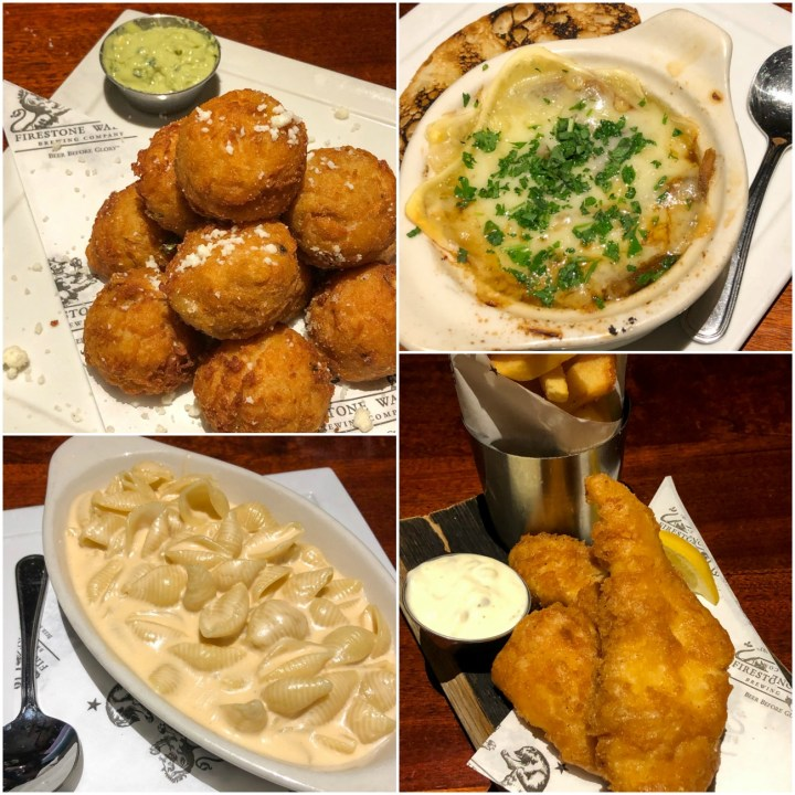 Mac and cheese, tater tots, fish and chips, and French onion soup at Firestone Walker Brewing Company