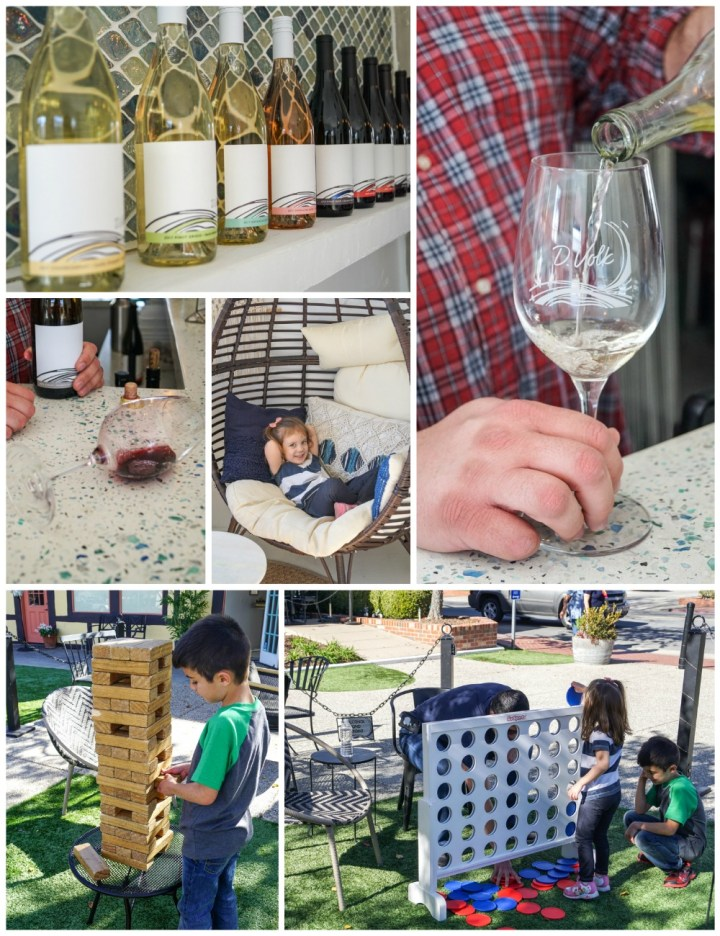D. Volk Wines- wine bottles lining a wall, pouring white wine into a glass, sitting in egg chair, and playing jenga/connect 4 outside.