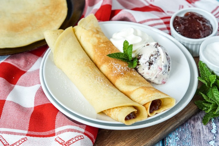 Pandekager (Danish Pancakes) with ice cream and whipped cream