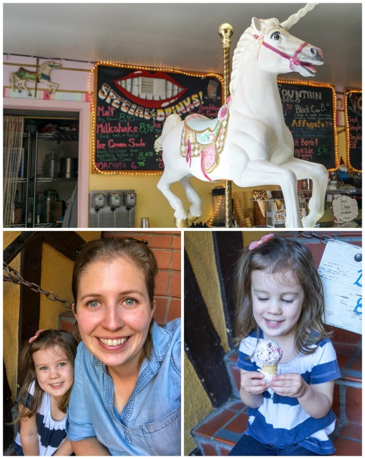 Eating ice cream at Solvang Trolley Ice Cream Parlor- inside has a large white carousel horse.