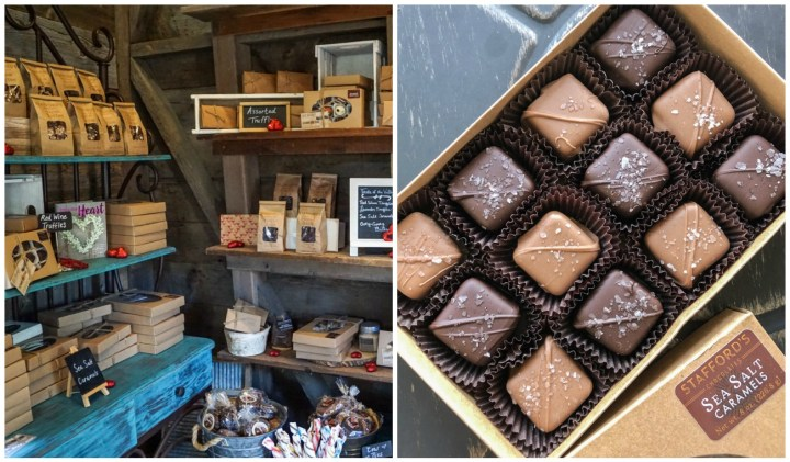 Inside Stafford's Chocolates with box of sea salt caramels and other chocolates lined on the shelves.