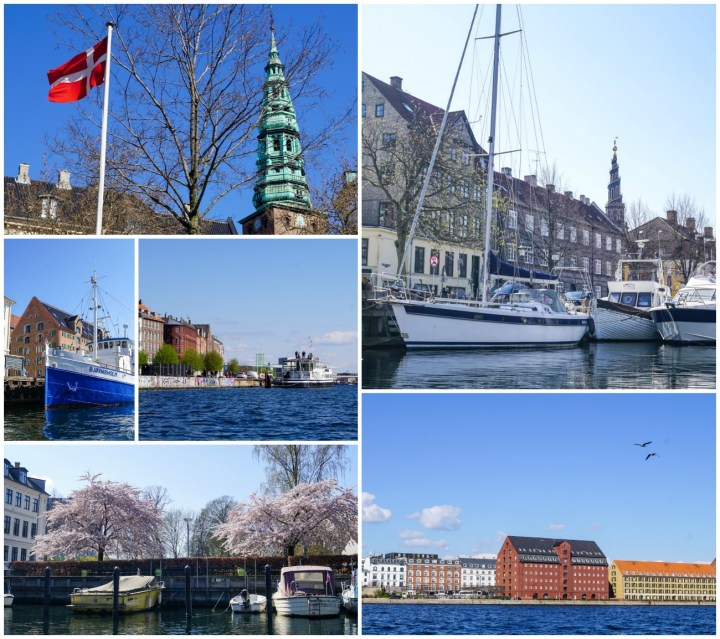 Views of Copenhagen from our boat tour- Danish flag, boats, and the water