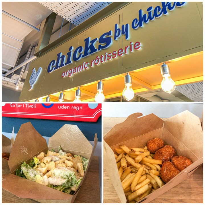 Caesar salad and chicken nuggets in a box with fries from Chicks by Chicks.