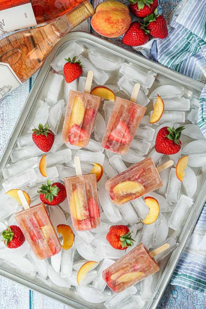 Aerial view of Frosé Sangria Popsicles on ice
